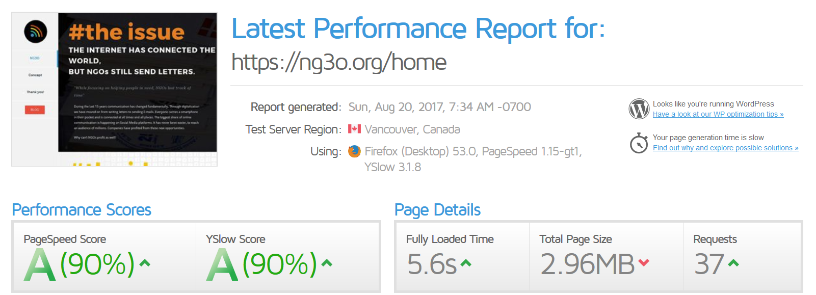 NG3O-Pagespeed Insight-YSlow-Screenshot