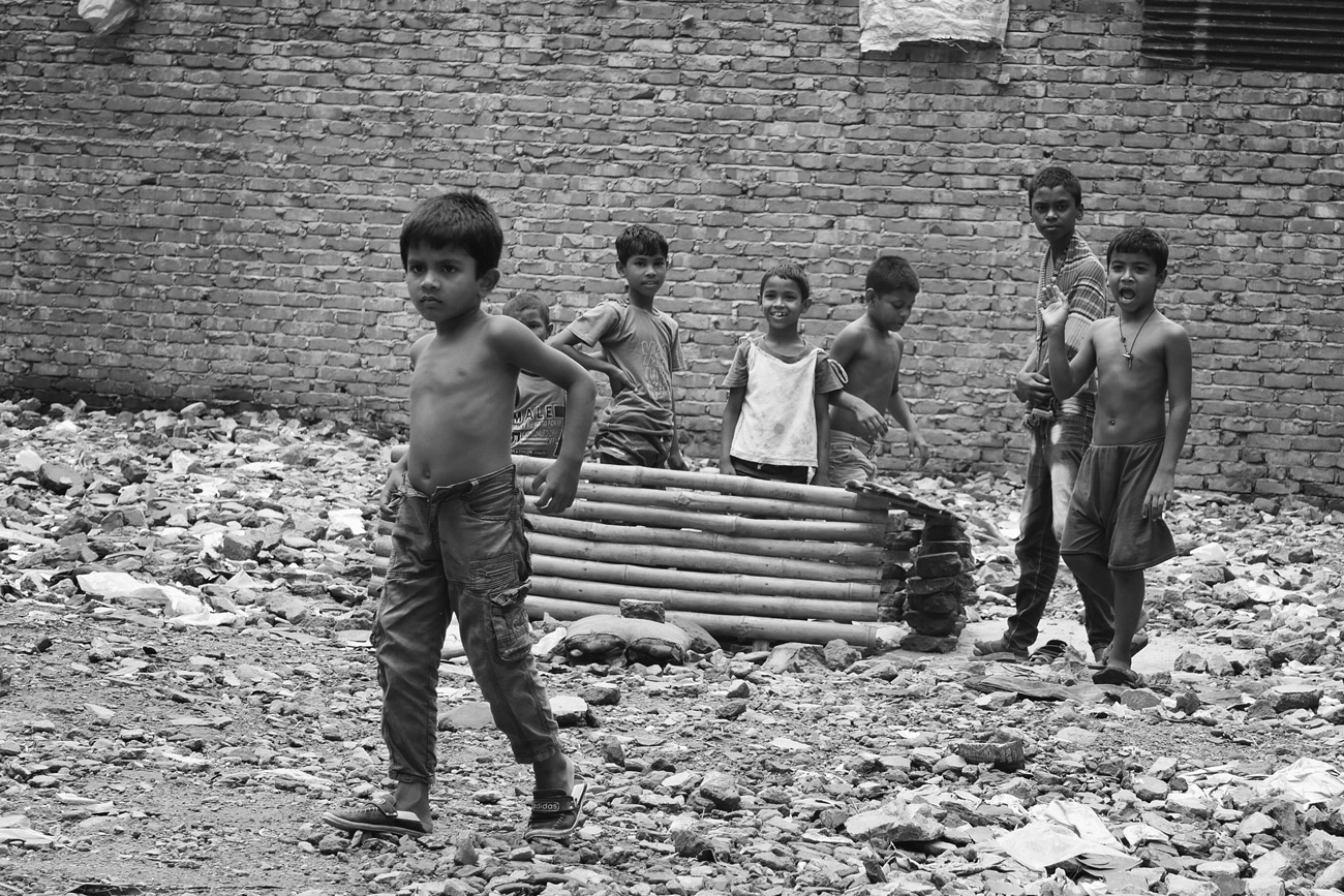 Street Children in a slum of Dhaka